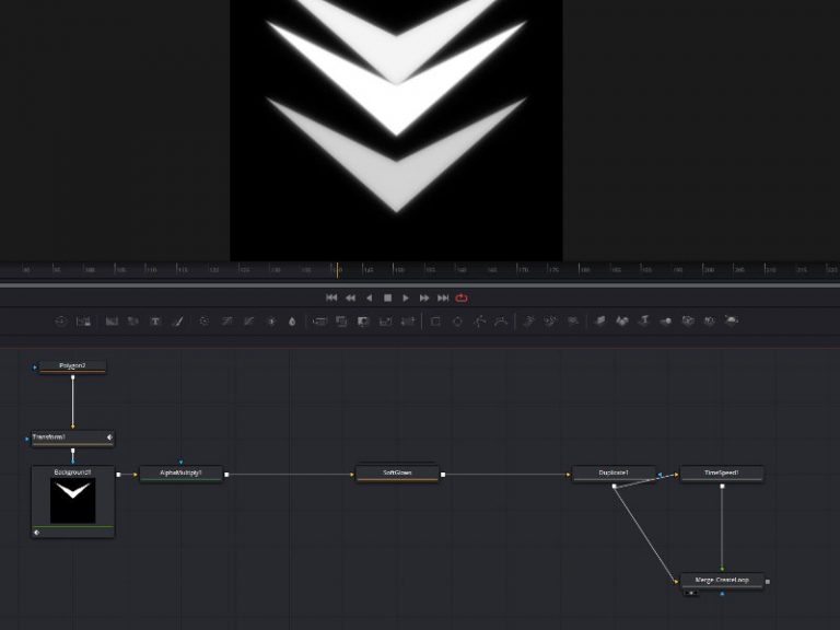 Icon animation in Fusion with soft glow duplicate and timespeed