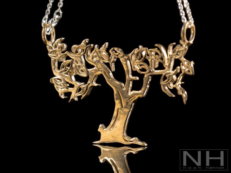 3d printed golden bronze tree necklace pendant