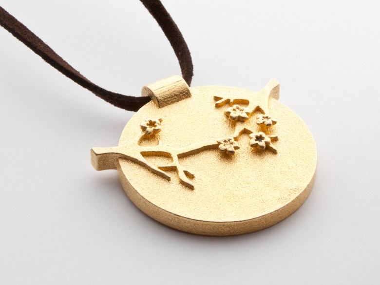 3d printed gold stainless steel necklace with Asian inspired cherry blossom theme