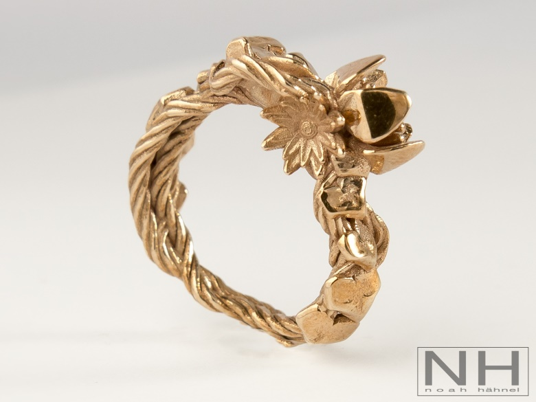 3d printed gold bronze flower vines and nature ring with intricate details