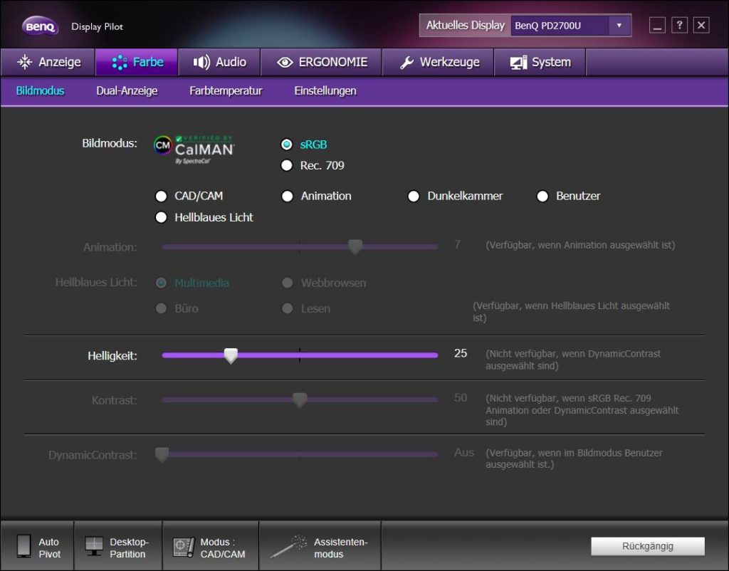 BENQ DisplayPilot Software Color Settings