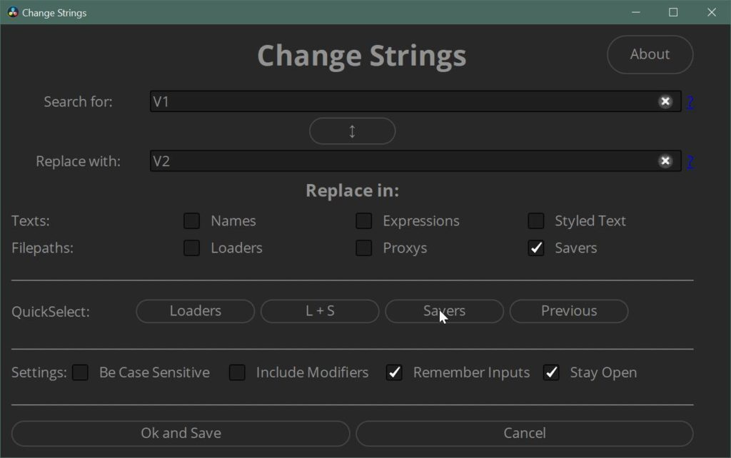 Change Strings to batch change Filepaths in Fusion or Resolve