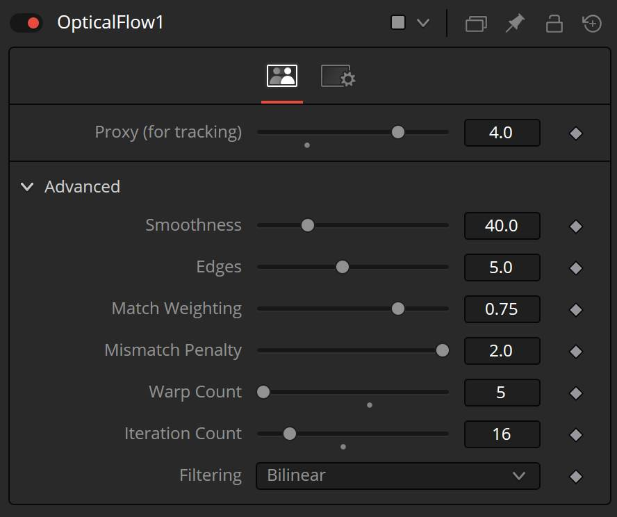 pCustomForce Optical flow settings