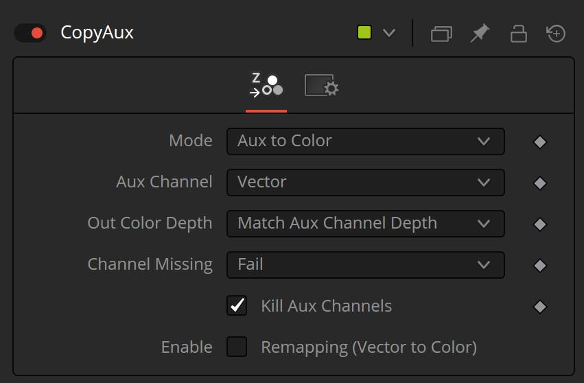 CopyAux to copy aux channels to the color channels