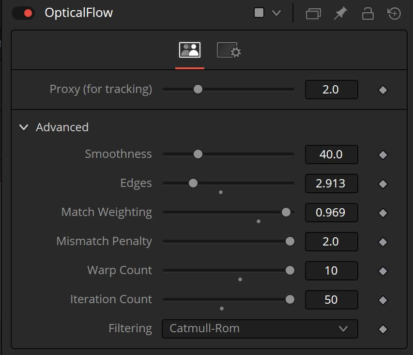 OpticalFlow settings