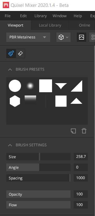 Quixel Mixer Brush Settings