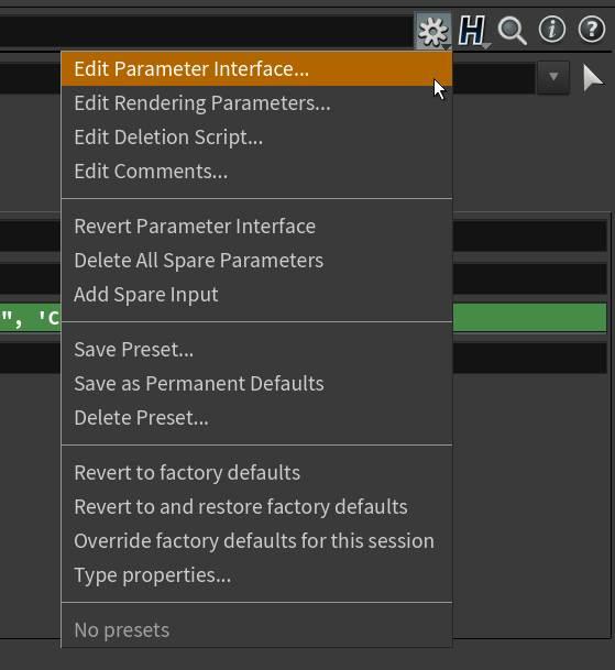 Edit Parameter Interface in Houdini