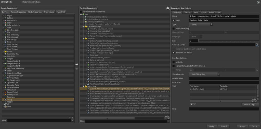 Edit Parameter Interface in Houdini to add custom Metadata